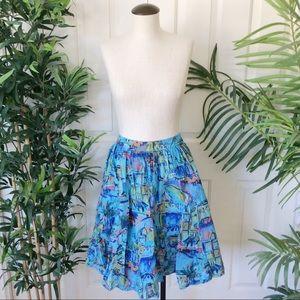 Lane Bryant 14 16 1X 2X Blue Midi Skirt